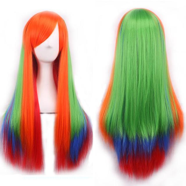 75 CM Cosplay colorido degradado de color de estilo Japonés Harajuku helado recta  larga peluca de 54a5ac03e23f
