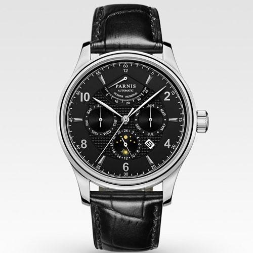 42mm parnis mostrador preto Multifunction miyota Vidro de Safira pulseira de couro preta 26 jewels 9100 Automatic mens Watch 537