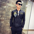 2016 Mens Leather Jackets Rock and punk slim stand collar short design leather jacket casual fashion trend of the male coat set