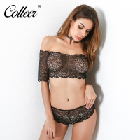 COLLEER 2018 New Sexy Lingerie Set Hot Black Rose Lace One Word Shoulder Perspective Erotic Underwear