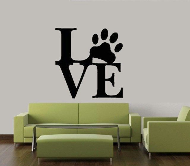 Love paw print dog pet decal vinyl removable wall decor sticker home cat dog animal quote