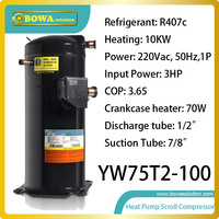 10KW R407c Heating Capacity Refrigeration Scroll Compressor Installed Air Source Or Ground Source Heat Pump Water