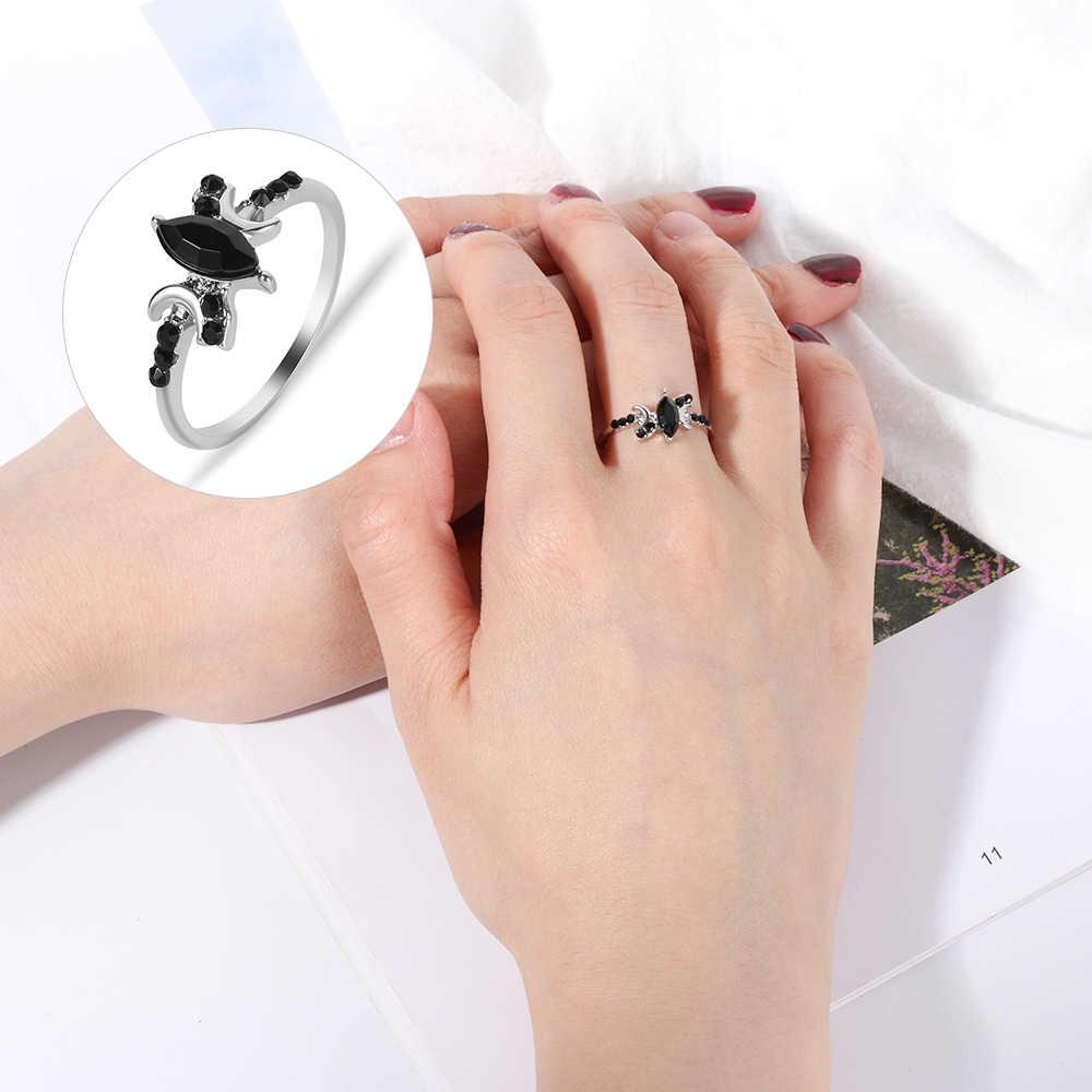 ใหม่ Chic ผู้หญิง 925 Soild สีขาวเงินโอปอลแหวนหมั้นแหวนขนาด 6 7 8 9 10 คริสตัล Rhinestone charm เครื่องประดับของขวัญ