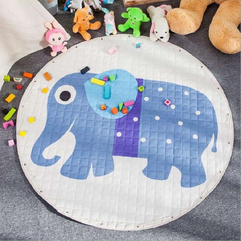 Cartoon Animals Fox Kangaroo Elephant Multifunction Skidproof Baby Play Mats Rug Carpet Toys Storage Bag Nordic Style Room Decor цена 2017