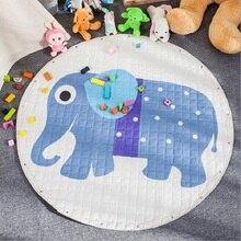 Cartoon Animals Fox Kangaroo Elephant Multifunction Skidproof Baby Play Mats Rug Carpet Toys Storage Bag Nordic Style Room Decor