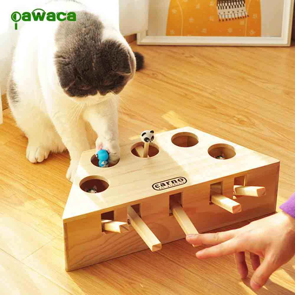 Wood Cat Hit Gophers toys Interactive Catch Mouse Game Machine Tease Cat Toys Whack-a-mouse Cat Teaser Toys