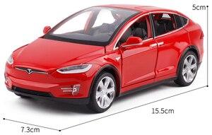 Image 5 - Модель автомобиля из сплава в масштабе 1:32 Tesla Model X, металлические игрушечные автомобили с откидной задней мигающей музыкой, детские подарки, бесплатная доставка