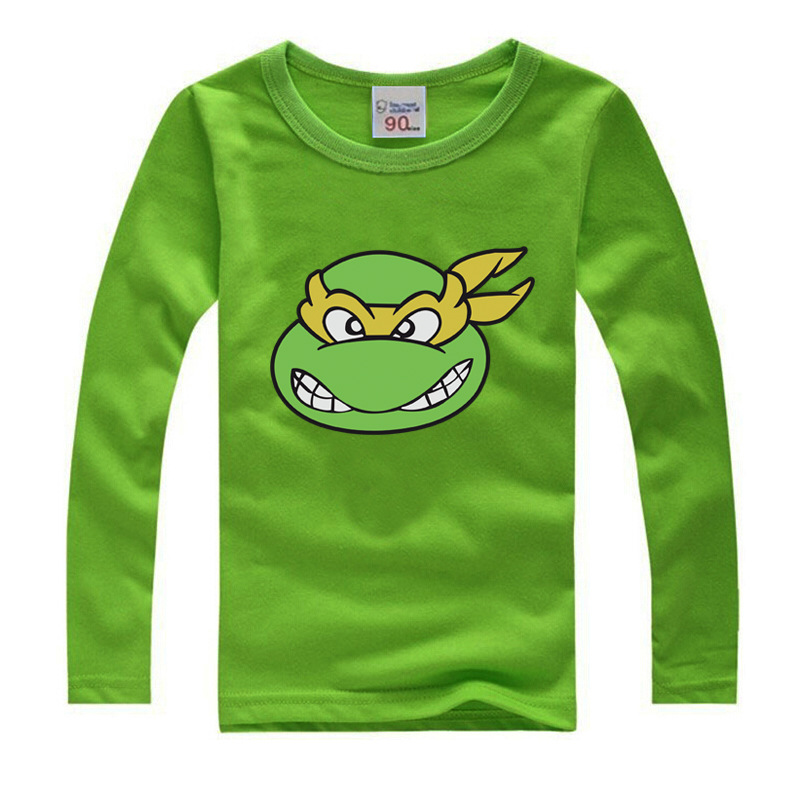 Children Long sleeve T shirts Boys and girls Clothes Kids Tee Shirt Fille 100% Cotton Turtle Character Print Baby Boy Clothing cactus print tee and shorts pajama set