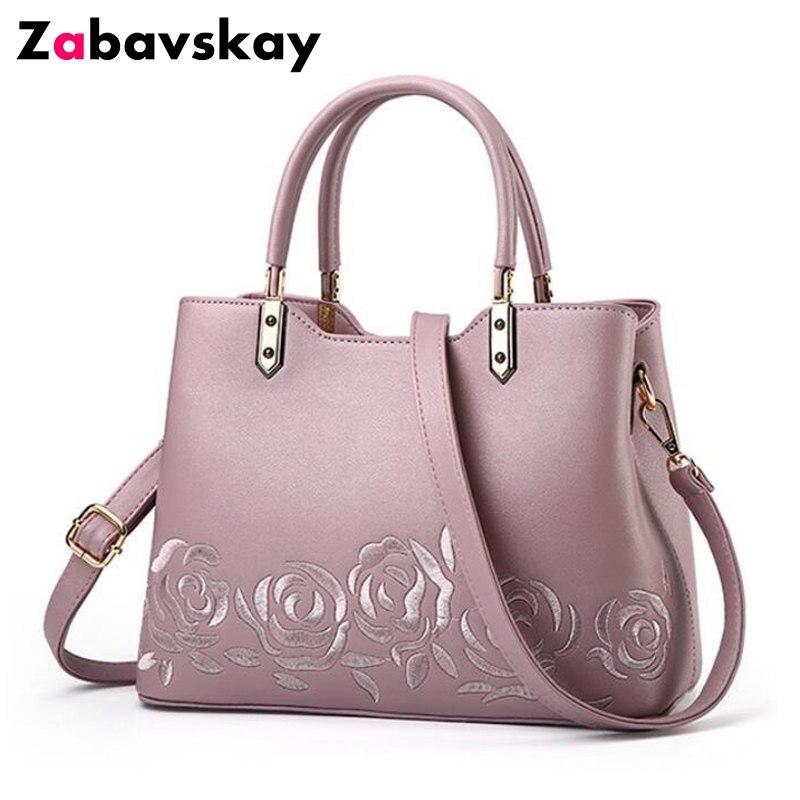 Luxury Women Leather Handbag Women Messenger Bag Female Leather Shoulder Bag Women's Embroidery Flower Handbag sac a main QT29