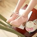 Новая школа ветра восстановление древних путей туфли на высоком каблуке женская обувь с круглой головой толстый Британский белый джокер рабочая обувь