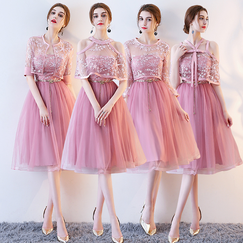 Wedding Party Dress Objective Bridesmaids Dresses Elegant Brides Maid Wedding Party Dress Short Bridesmaid Rose Pink With Jacket Come With Belt Weddings & Events