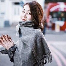 Высокое качество женский модный канадский шерстяной шарф однотонный унисекс с кисточками пашмины леди и мужчины осень зима шарфы шаль палантин-1