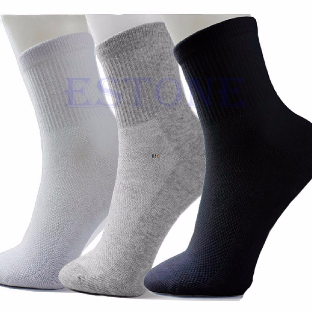 10 Pairs/lot Lot Man black/grey/white Cosy Cotton Sport  Socks INY