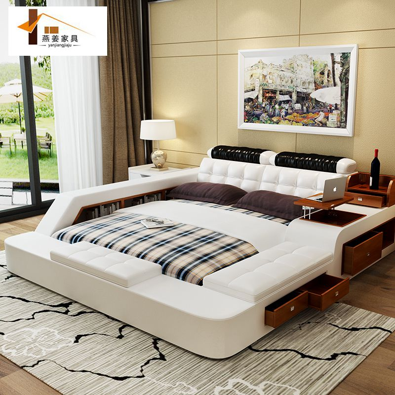 Bedroom furniture china leather bed tatami bed minimalist for New modern bed design