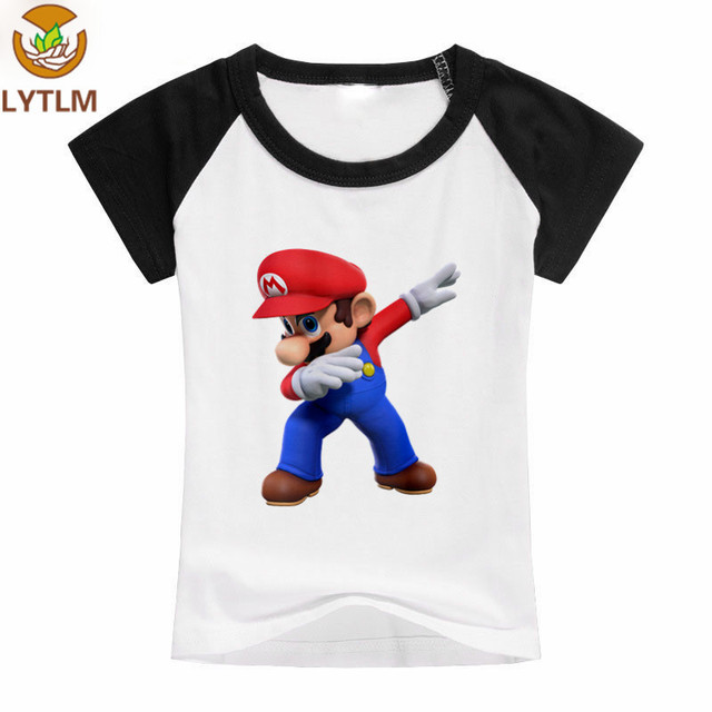 c608f25cfb640 LYTLM Dabbing Funny Shirt Girls Clothes 10 12 year Super Mario T-shirt  Raglan Sleeve Baby T Shirt Cotton Funny T Shirts Kids
