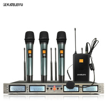 Professional Microphone 200 Channels Optional Frequency 3 Handheld and 1 Headphone Wireless System Stage