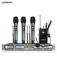 Professional Microphone 200 Channels Optional Frequency 3 Handheld and 1 Headphone Microphone Wireless System Stage Microphone
