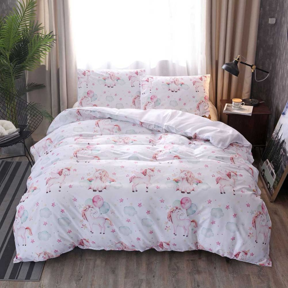 Unicorn Bedding Set Believe Miracles Cartoon Pink Horse Pillowcase Duvet Cover Sets Fairytale Animals for Kids Girls Bedclothes