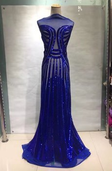Latest Blue French Tulle Lace Fabric Embroidered Nigerian Mesh Lace 2019 High Quality Lace African Dresses For Women JL085