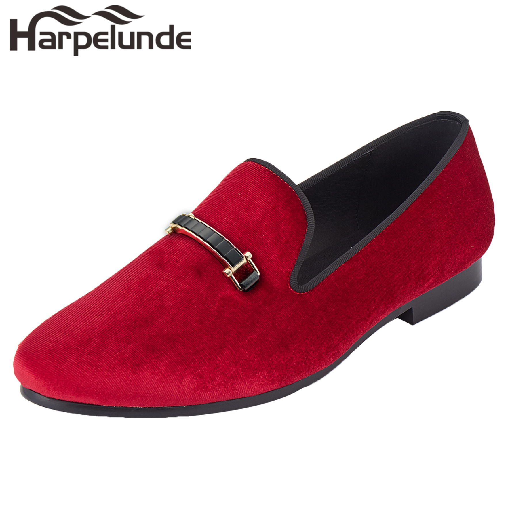 Harpelunde Men Event Flat Shoes Red Velvet Buckle Loafers