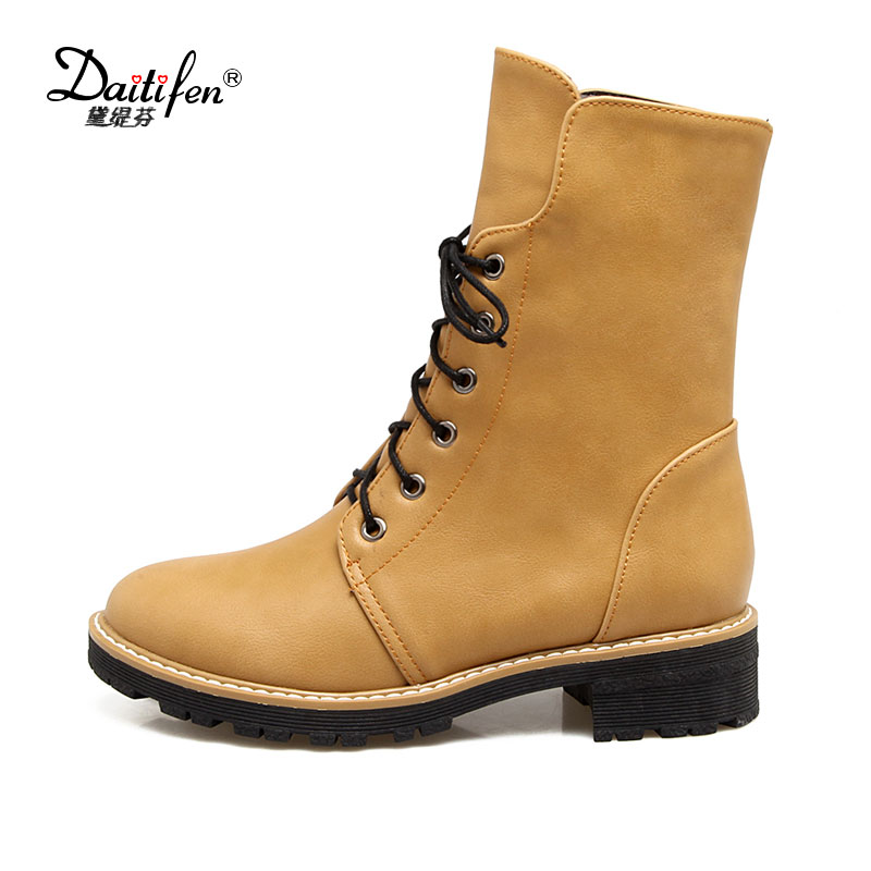 Daitifen 2017 Women Fashion Vintage Pu Leather Shoes Female Spring Autumn Platform Ankle Boots Woman Lace Up Casual Boots front lace up casual ankle boots autumn vintage brown new booties flat genuine leather suede shoes round toe fall female fashion