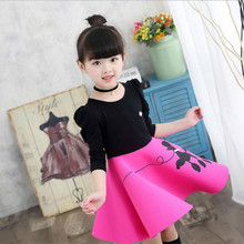 Fashion Jacquard Spring and Autumn Long-sleeved Cute Print Dress Princess Party Baby Girl Dresses Girl Clothes 3-7, 8,9,10 Yrs