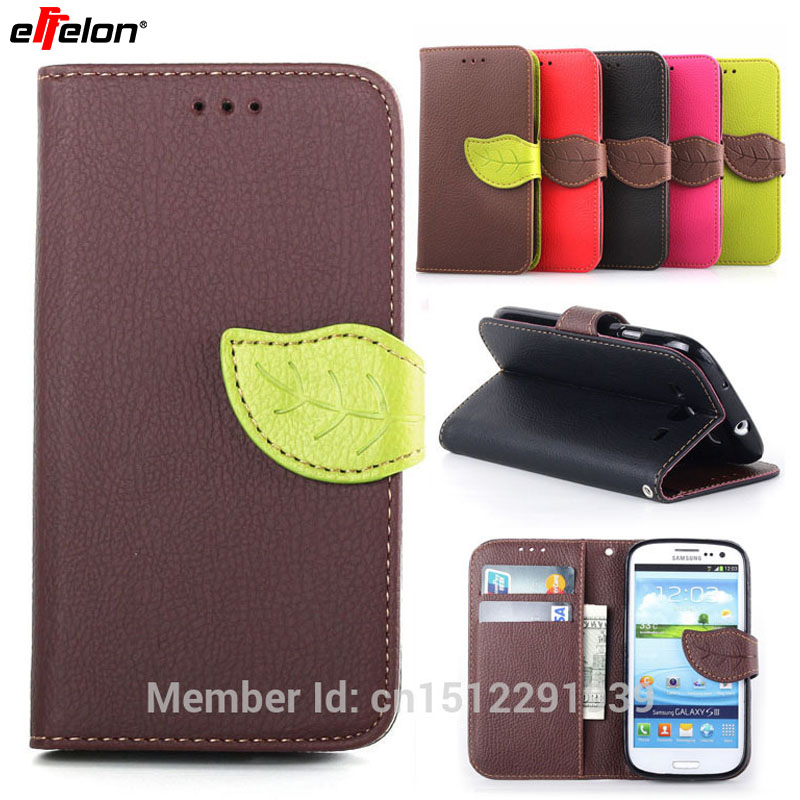 SEASHORE Fashion Leaves Stand Flip PU Leather Cover Case For Samsung Galaxy S3 / i9300 Wallet & Card Holder Magnetic Chip Cases