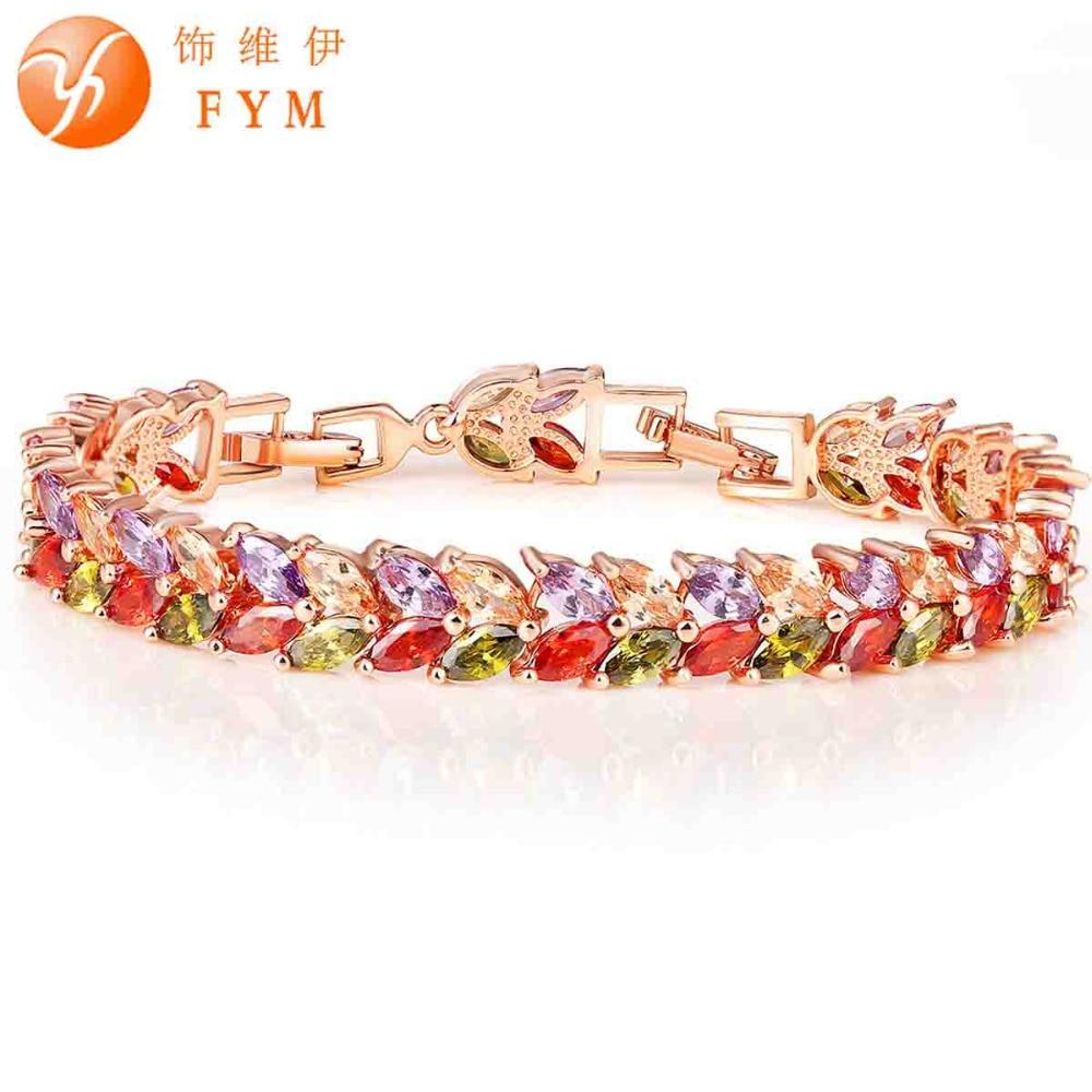 FYM 2018 De Luxe Or Couleur Feuilles Bracelet avec Coloré AAA Zircon Bracelet En Cristal CZ Bracelets pour les Femmes De Mariage