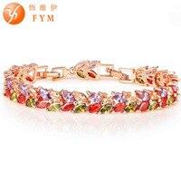 Fym 2016 hojas de color oro con el colorido de lujo aaa circón pulsera de cristal de la cz pulseras para las mujeres de la boda