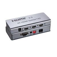 New HDMI Splitter 1x2 1080P HDCP 2 Port HDMI 2.0 Splitter 1 IN 2 out For HDTV PC TV BOX 4096X2160/60HZ 3D 4K