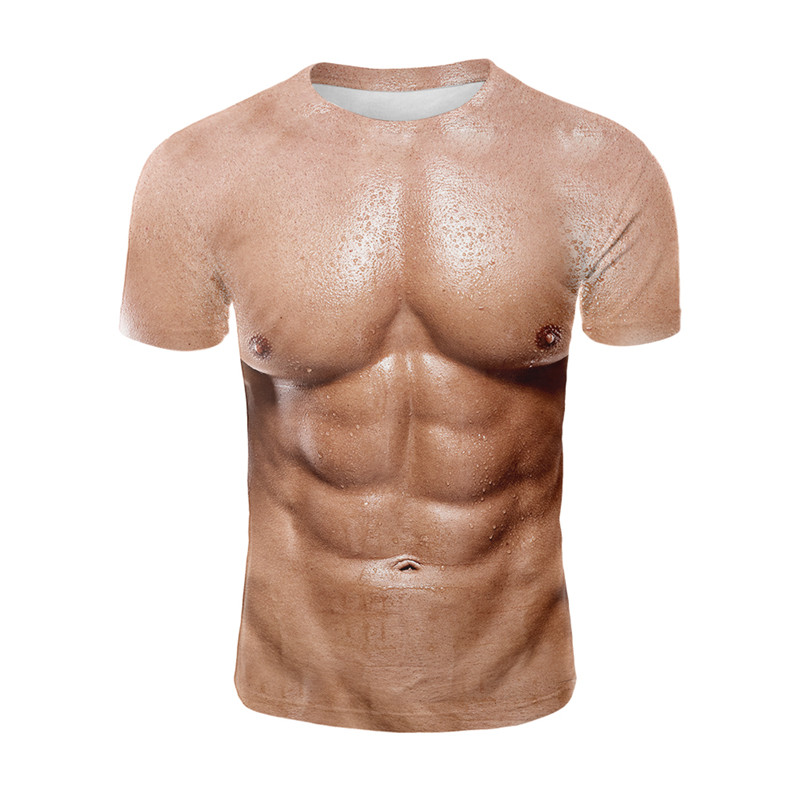 YELITE Fake Men Muscle Printed 3d Tshirt Strong Pectorales Pattern T-shirt Men Women Abdominal Creative Gym Tee Shirt Streetwear