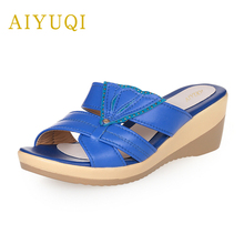 AIYUQI Large size 41#42#43# flats women flip flop ,2019 new genuine leather wedge open toe shoes, Platform slippers