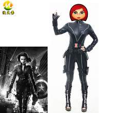 The Avengers Black Widow Costume Womens Official Marvel Fancy Dress Party Sexy Black Jumpsuit MZX-152-01