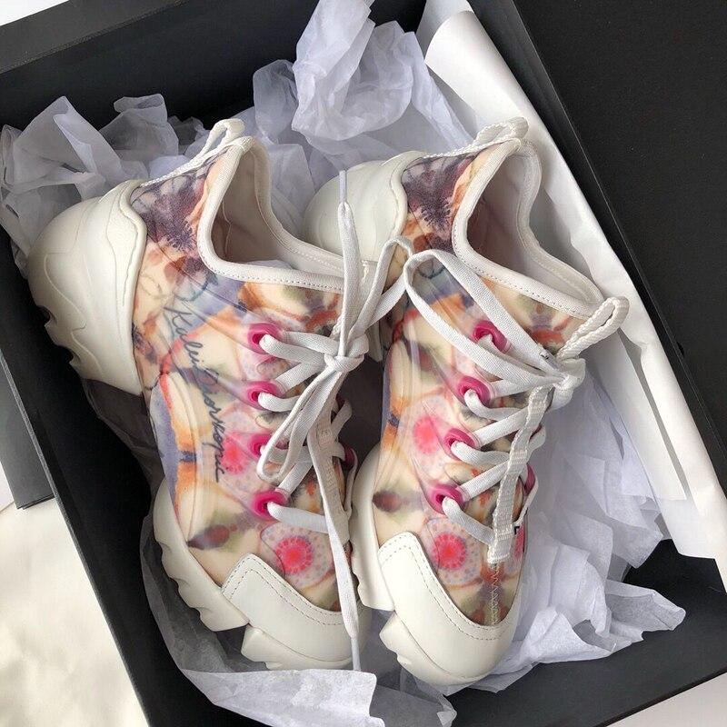 Pré décontracté blanc chaussures femmes Chunky baskets plate-forme zapatos de mujer impression marque chaussures femme dames chaussures Patchwork