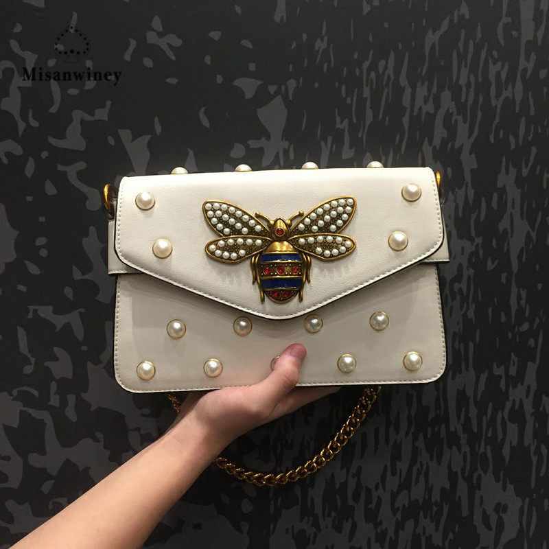 2017 Fashion Women Handbags Lady PU Leather Pearl Rivet Bee Chains Woman Black Hand Bag Messenger Bags Fabric Shoulder Strap