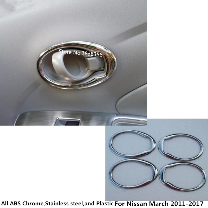 For Nissan March 2011 2012 2013 2014 2015 2016 2017 car styling cover stick trim ABS chrome door inner handle bowl frame 4pcs