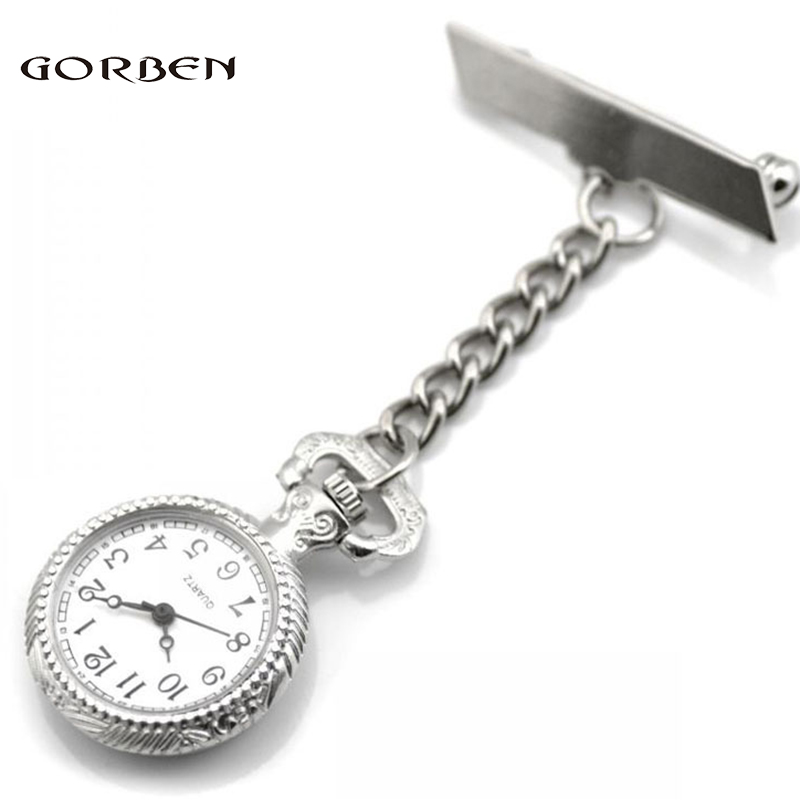 Simple Classic Sliver Nurse Watches Stainless Steel Brooch Nurse Watch Women Dress Quartz Pocket Watch Waterproof Ladies Gifts