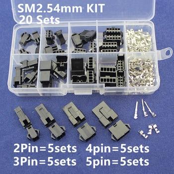 Kits de SM2.54 20 conjuntos Kit na caixa 2 p 3 p 4 p 5 p 2.54mm Pitch Feminino e masculino Cabeçalho Conectores Adaptador