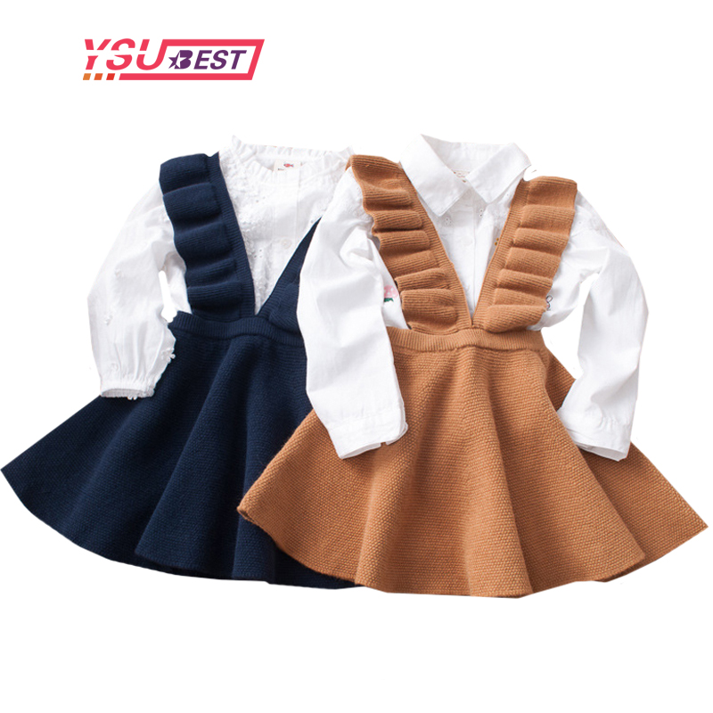 2-8Yrs Autumn Baby Girls Dress Fashion Girl Clothing Knit Sweater Kids Dresses for Girls Solid Sleeveless School Uniform Vestido knit high low sleeveless sweater