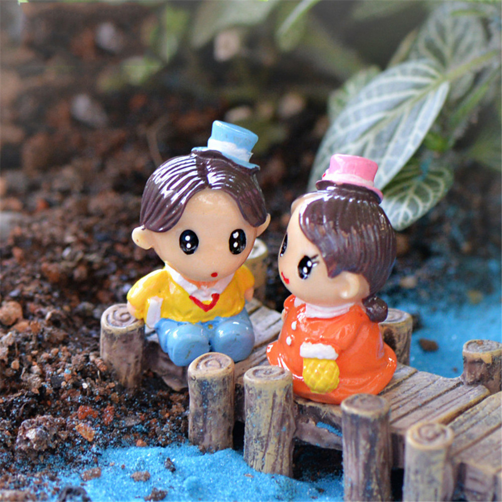 Gnome In Garden: 1Pc Cute Sweety Lovers Couple Figurines Miniatures Fairy