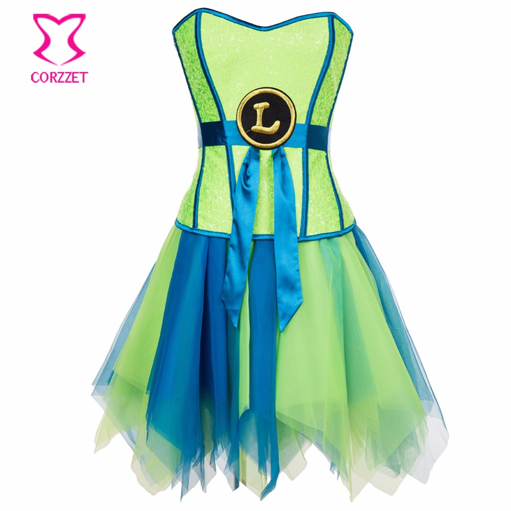 Burlesque Neon Green Sequins   Bustier     Corset   Dress Gothic Clothing Korsett For Women Sexy Supergirl   Corset   Skirt Fancy Dresses