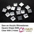 Coser Strass 8mm Acrílico Crystal Clear Rhinestones Cuadrados Para Bridals Vestido de Taiwan Rhinestones De Moda Nuevo Coser Strass