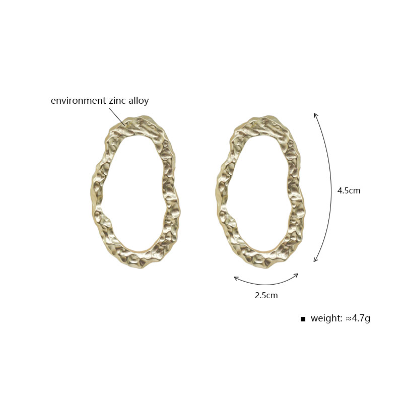 Carvejewl stud earrings irregular hammered oval stud earrings for women jewelry girl gift matte gold silver plating new fashion in Stud Earrings from Jewelry Accessories