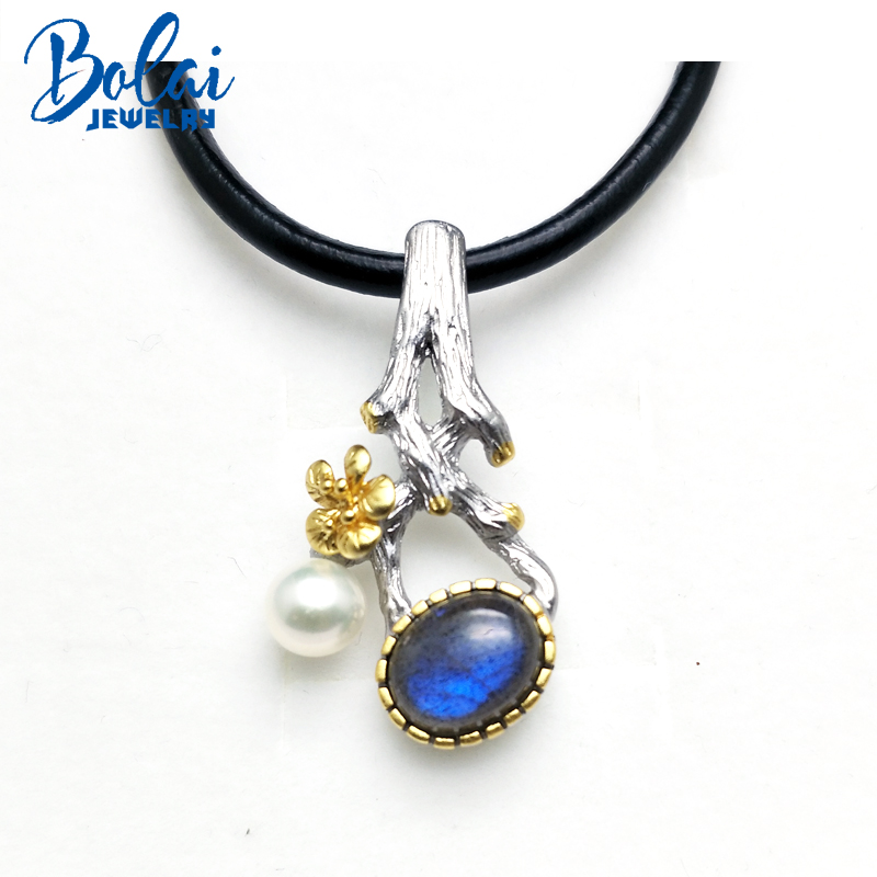 Bolaijewelry,Flower grasp tree leaves shape pendant natural Labradorite and good luster mother pearl 925 silver pendant necklace the good mother