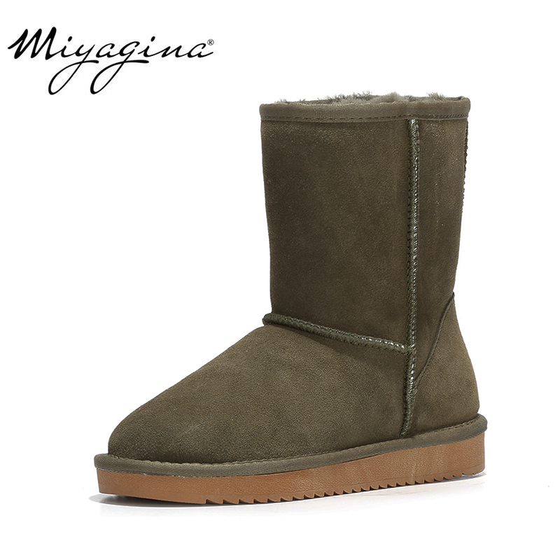 MIYAGINA 100% Genuine Cowhide leather Snow boots women Top quality Australia Boots Winter Boots for women Warm Botas MujerMIYAGINA 100% Genuine Cowhide leather Snow boots women Top quality Australia Boots Winter Boots for women Warm Botas Mujer