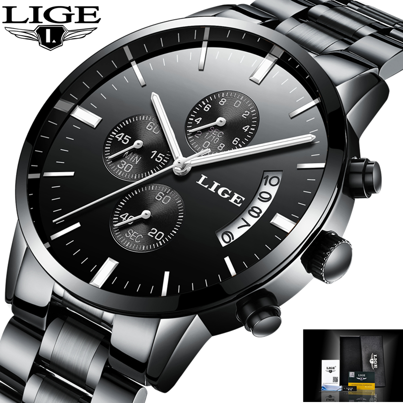 LIGE Watch Men Fashion Sport Quartz Clock Mens Watches Top Brand Luxury Full Steel Business Waterproof Watch Relogio Masculino new 7 touch screen digitizer replacement fpc ctp 0700 066v7 1 tablet pc