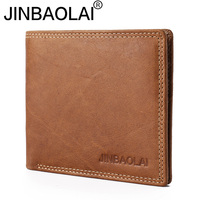 JINBAOLAI Brand New Genuine Leather Wallet Men Casual Short Solid Card Purse Designer High Quality Cow