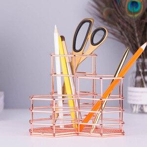 Image 4 - Boîte ajourée à crayons or Rose porte stylo, boîte de rangement pour crayons brosses de maquillage, conteneur organiseur de bureau, papeterie décorative, cadeau de rangement