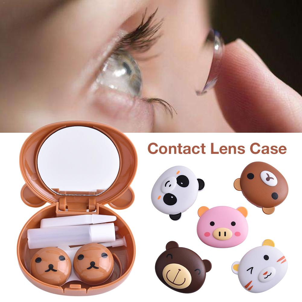 Cartoon Cute Smile Little Bear Pig Panda Contact Lens Case With Mirror For Holder Women Eye Care Contact Lenses Box