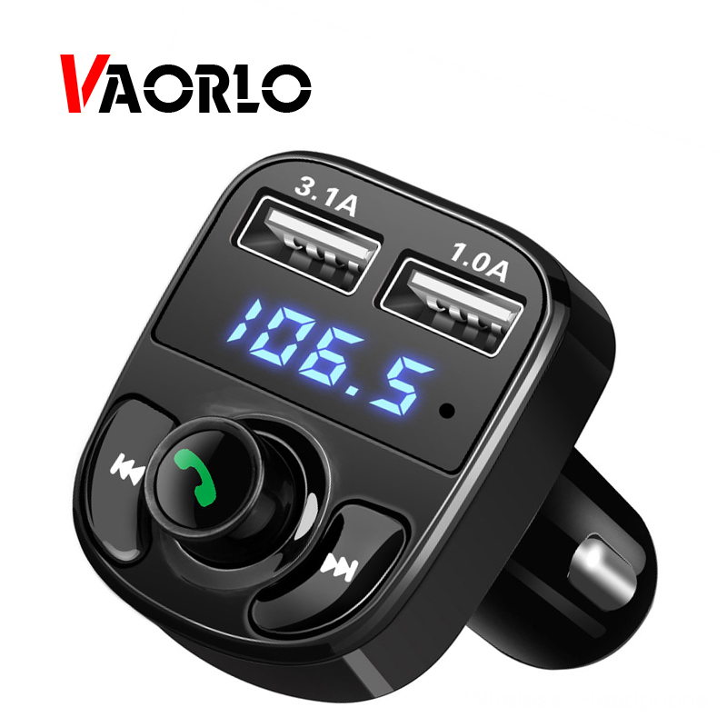 VAORLO Bluetooth Car Kit Fm Transmitter MP3 Player Handsfree Call Quick Charge 3.0 Dual USB Support TF Music Playing For Car